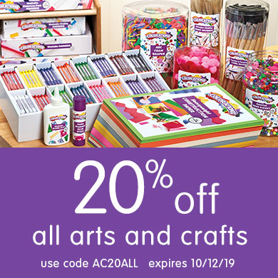 20% off all arts and crafts, use code AC20ALL, expires 10/12/19