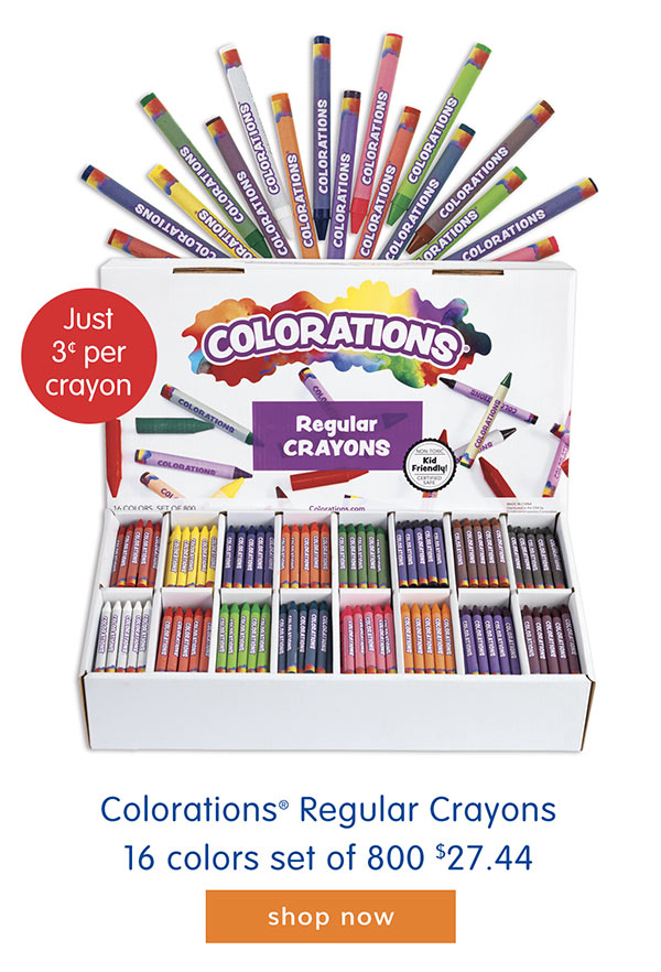 Colorations® Regular Crayons, 16 colors set of 800, $27.44