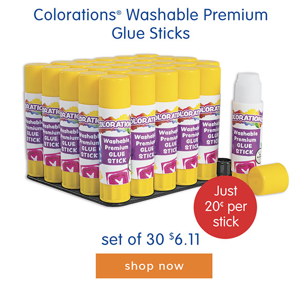 Colorations® Washable Premium Glue Sticks, set of 30, $6.11