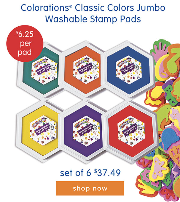 Colorations® Classic Colors Jumbo Washable Stamp Pads