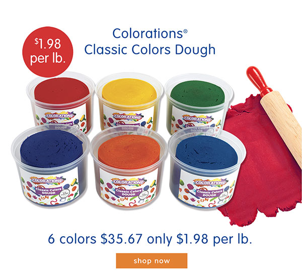 Coloration® Classic Colors Dough, 6 colors $35.67, only $1.98 per lb.