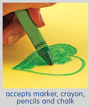 accepts marker, crayon, pencils and chalk