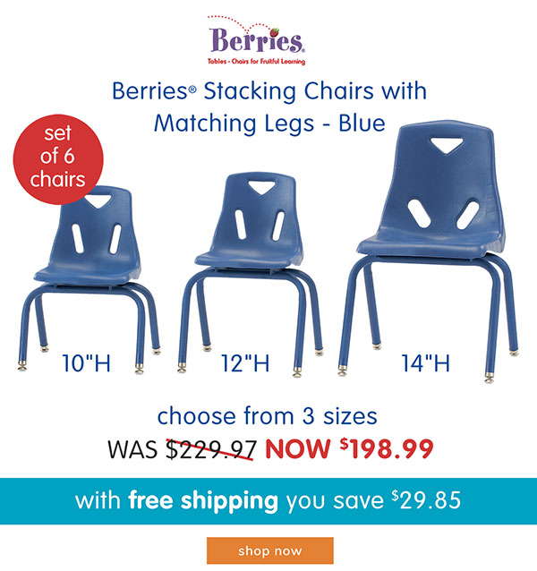 Berries® Stacking Chairs with Matching Legs - Blue, 10 in High, 12