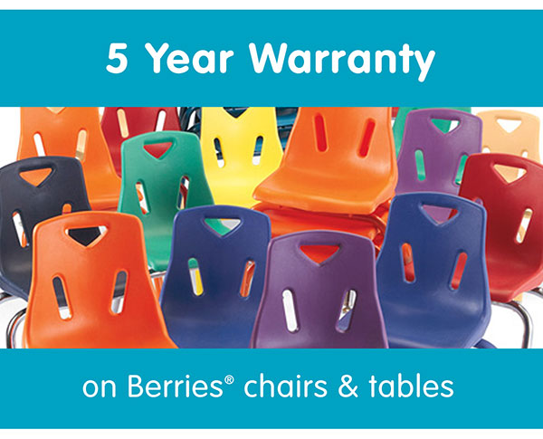 5 Year Warranty on Berries® chairs and tables