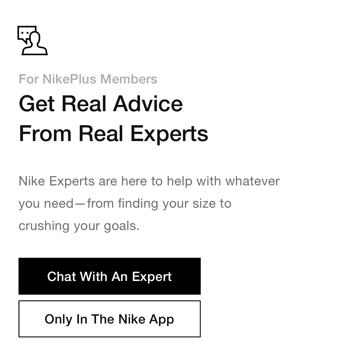 Chat With An Expert In The Nike App