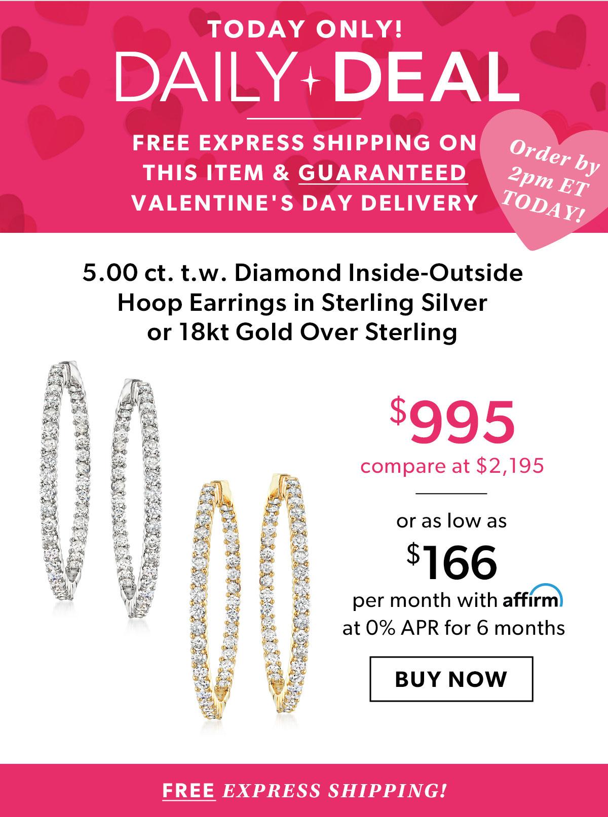 5.00 ct. t.w. Diamond Inside-Outside Hoop earrings in Sterling Silver or 18kt Gold Over Sterling. Buy Now