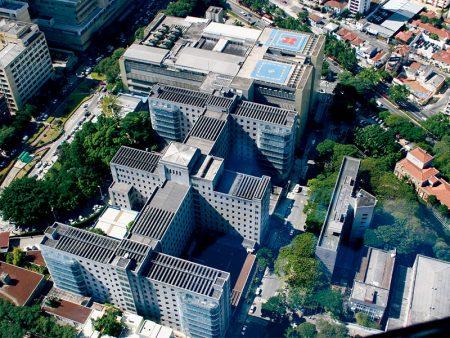 Vista aérea do HCFMUSP, onde é realizada a residência em Cirurgia Cardiovascular na USP
