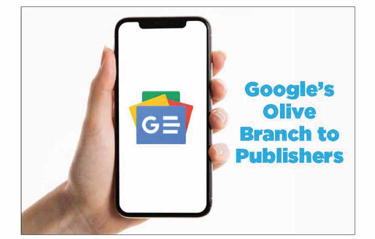 GOOGLE'S OLIVE BRANCH TO PUBLISHERS