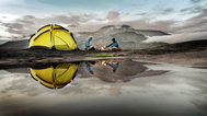 Tent_reflection_camp_camping_sports_lakes_water_mountains_people_fire_flames_1920x1080