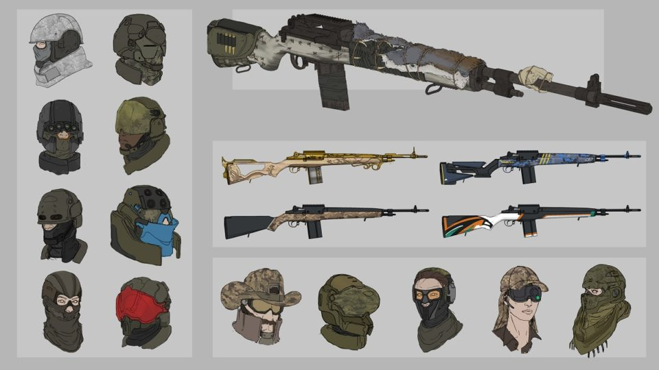 Weapon and equipment concept image.