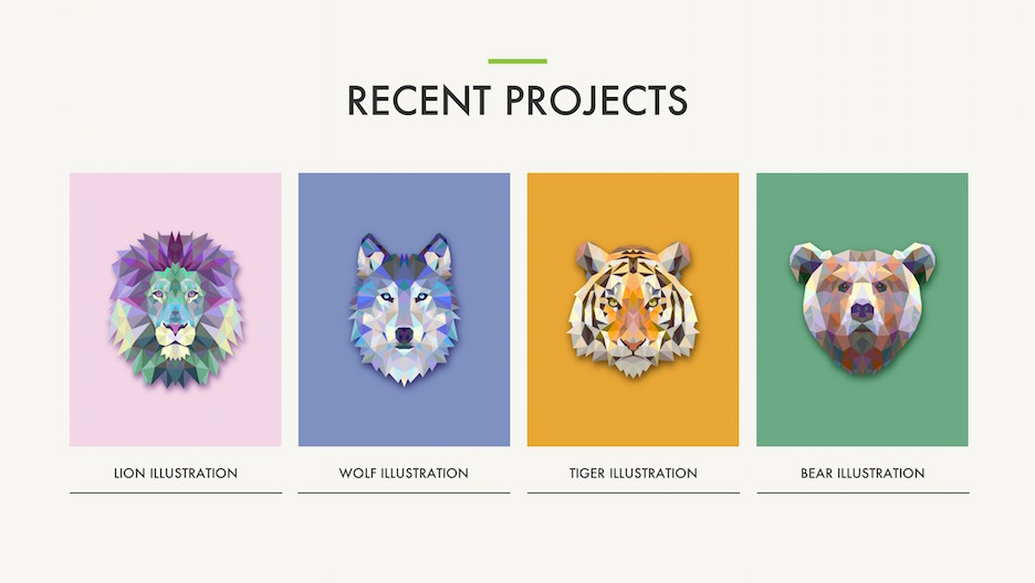 Recent Projects Slide - 4 Illustrations with Triangulated Animals | Portfolio PowerPoint Template