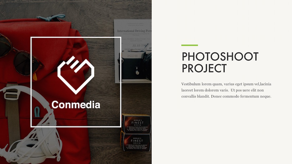 Project Intro Slide - Big Photo/Logo, Title and Description | Portfolio PowerPoint Template