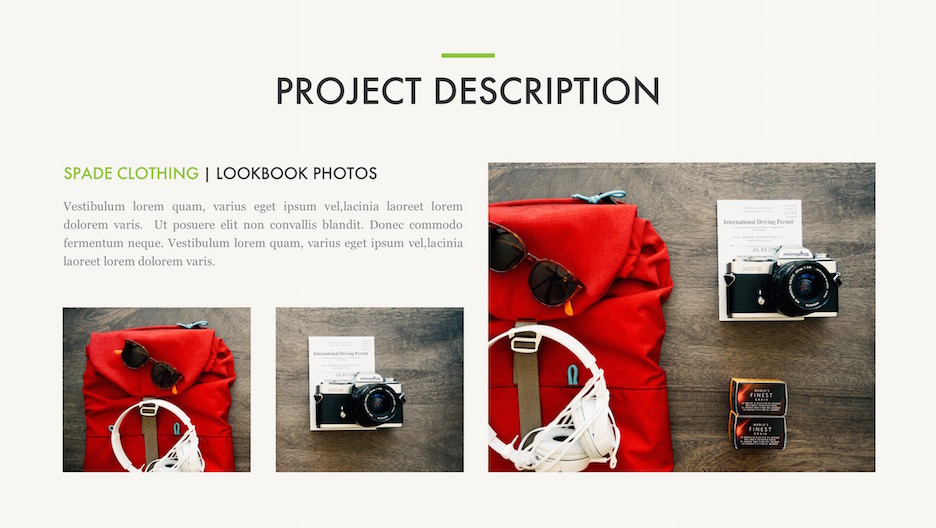 Project Details Slide - Title, 3 Photos and Description | Portfolio PowerPoint Template