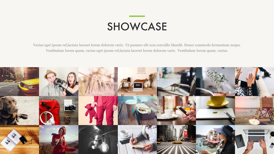Showcase Slide - Title, Description, and Mosaic of Photos | Portfolio PowerPoint Template