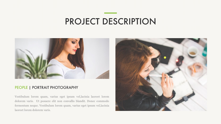 Project Details Slide - Title, 2 Big Photos and Description | Portfolio PowerPoint Template