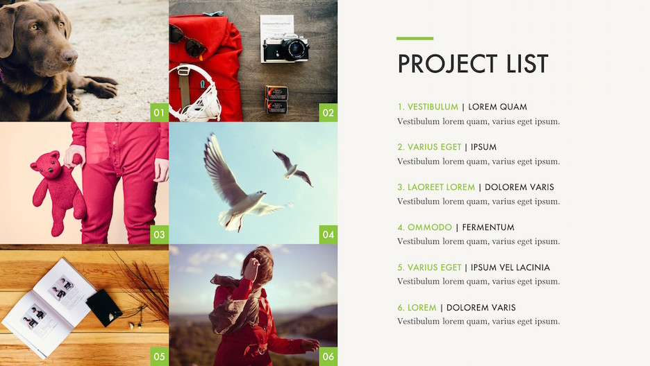 Projects List Slide - Title, Numbered List, and Mosaic of 6 Photos | Portfolio PowerPoint Template