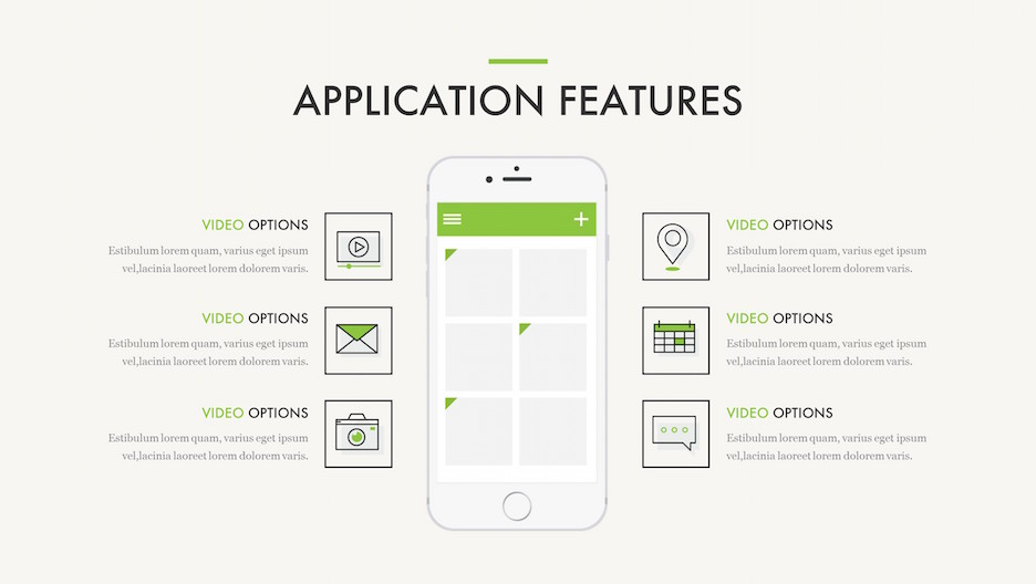 Application Features - Big iPhone Mockup with 6 Feature Line Icons | Portfolio PowerPoint Template