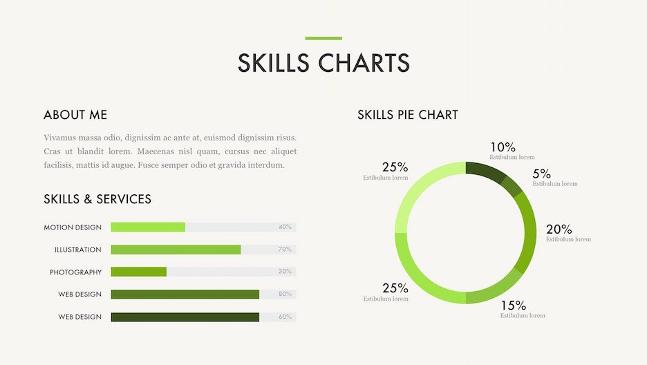 Skills Chart - Title, Text, Big Pie Chart, and Percentage Bar Charts for Motion Design, Illustration, Photography, and Web Design | Portfolio PowerPoint Template