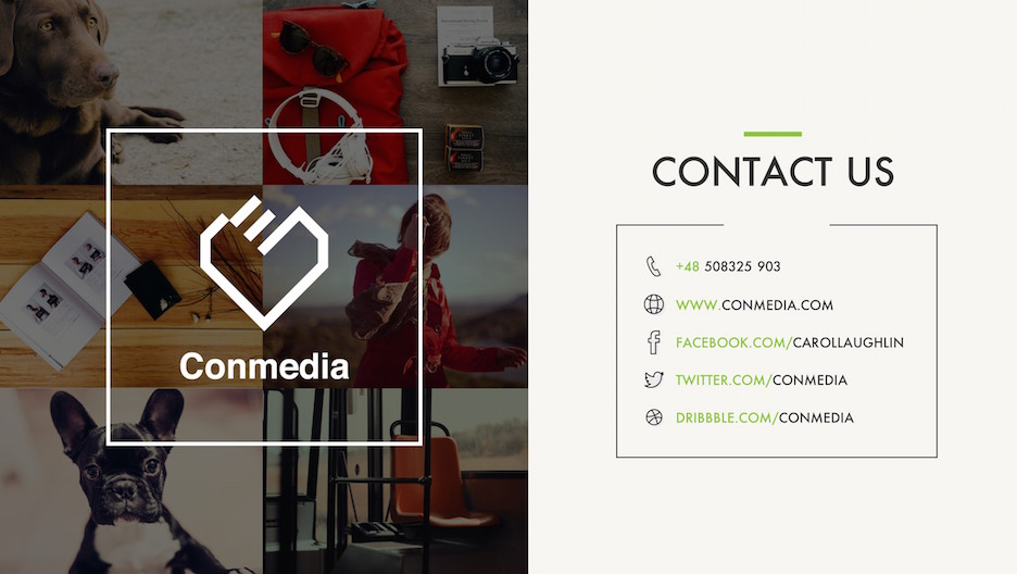 Contact Us Slide - Contact and Social Media Information | Portfolio PowerPoint Template