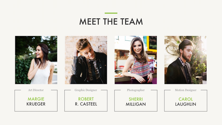 Meet The Team Slide, with Art Director, Graphic and Motion Designers, and Photographer | Portfolio PowerPoint Template