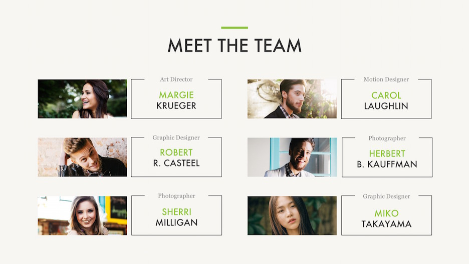 Meet The Team Slide with 6 people: Art Director, Graphic Designers, Photographers and Motion Designer | Portfolio PowerPoint Template