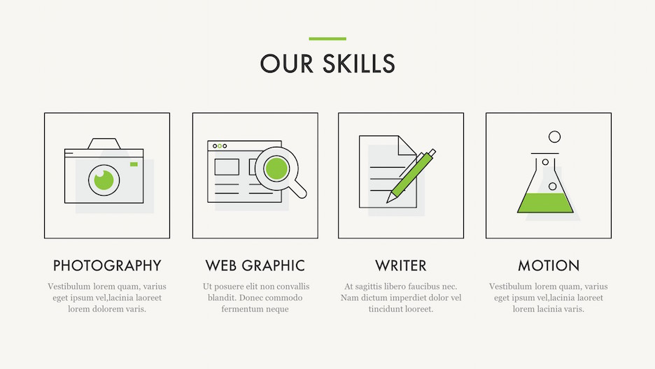 Our Skills slide with Photography, Web Graphic, Writing and Motion icons | Portfolio PowerPoint Template