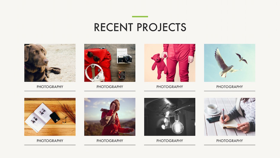 Recent Projects 8 Item Portfolio Slide with Thumbnails | Portfolio PowerPoint Template