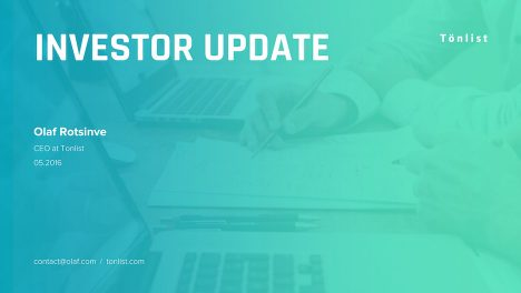 title slide | startup investor update ppt template