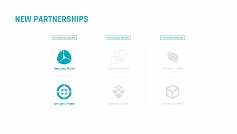 new partnerships 6 logotypes slide | startup investor update ppt template