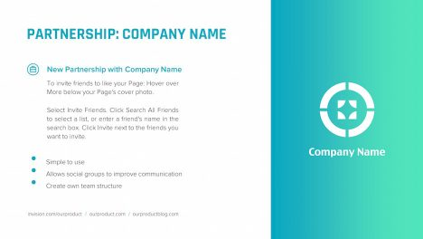 partnership details logo description slide | startup investor update ppt template