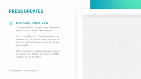 press updates ipad mockup slide | startup investor update ppt template