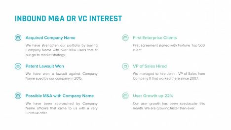 inbound m&a or vc interest slide | startup investor update ppt template
