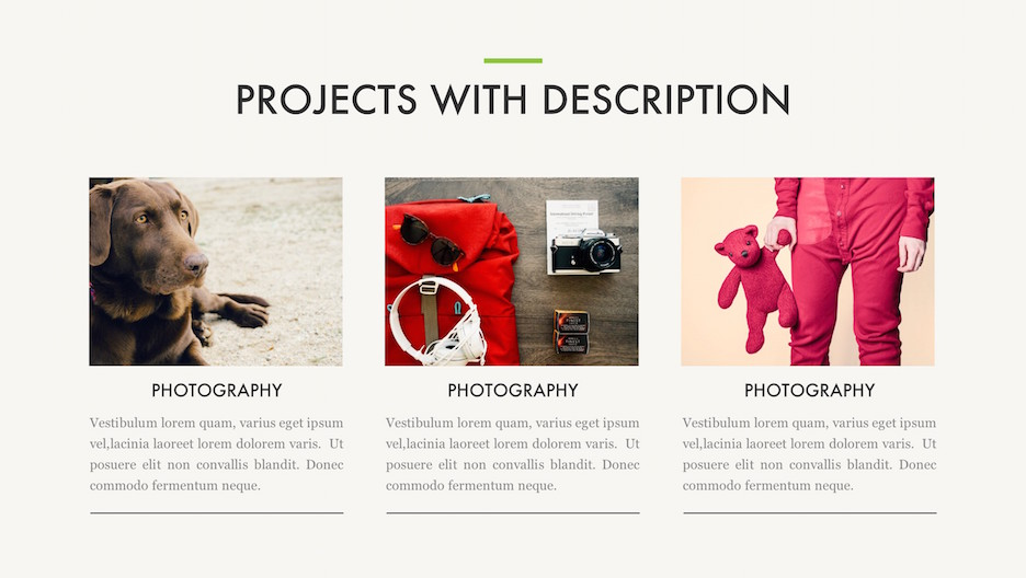 Recent Projects Slide - 3 Photography Projects with Title and Description | Portfolio PowerPoint Template