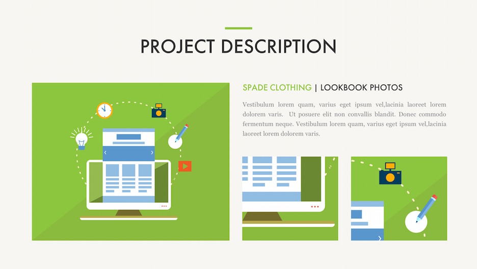 Project Details Slide - Title, 3 Images / Illustrations, and Description | Portfolio PowerPoint Template
