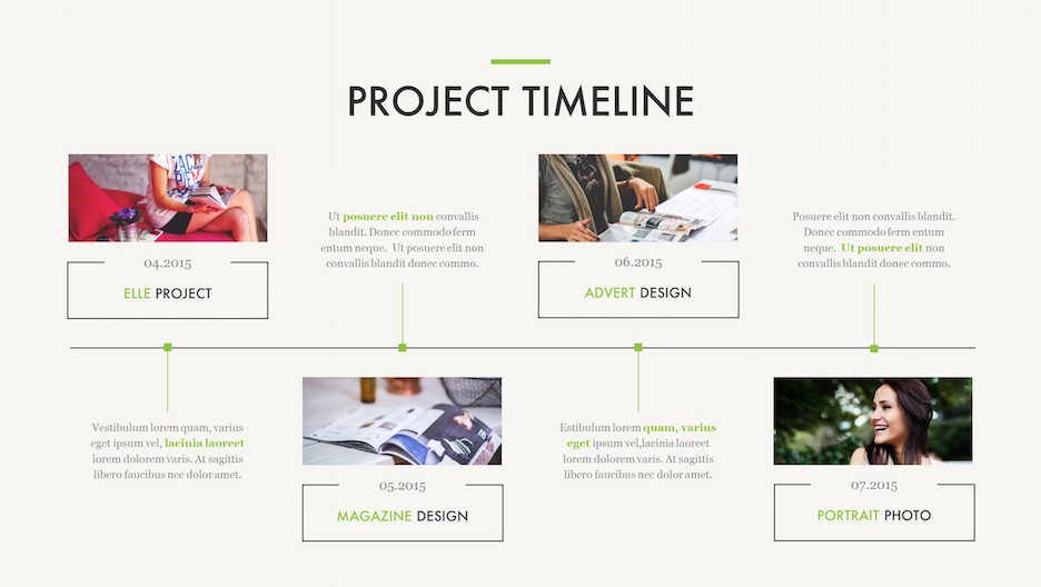 Project Timeline Slide - 4 Photos on a Timeline with Text | Portfolio PowerPoint Template