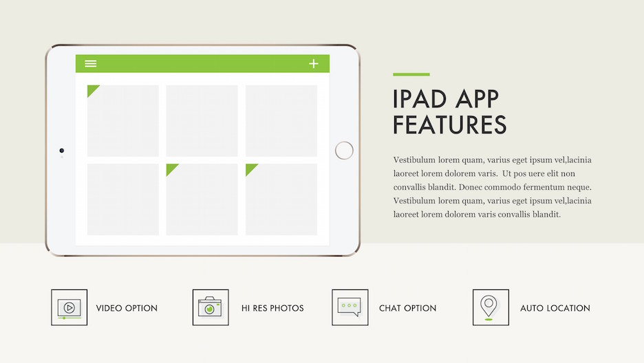 iPad App Features Slide - Mockup with Text and Icons | Portfolio PowerPoint Template