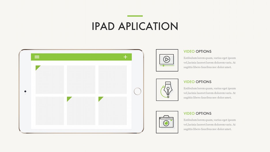 iPad Application - Mockup with Line Icons and Text | Portfolio PowerPoint Template