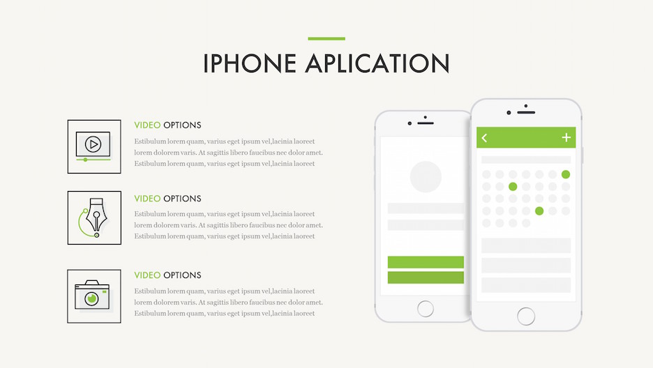 iPhone Application Slide - 2 Mockups with Line Icons and Description | Portfolio PowerPoint Template