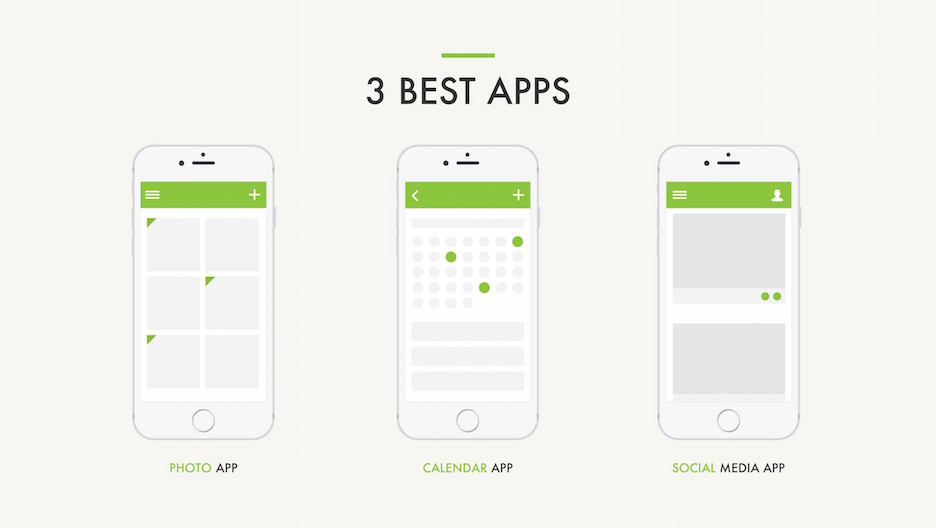 3 Best Apps Slide - Three iPhone Mockups | Portfolio PowerPoint Template