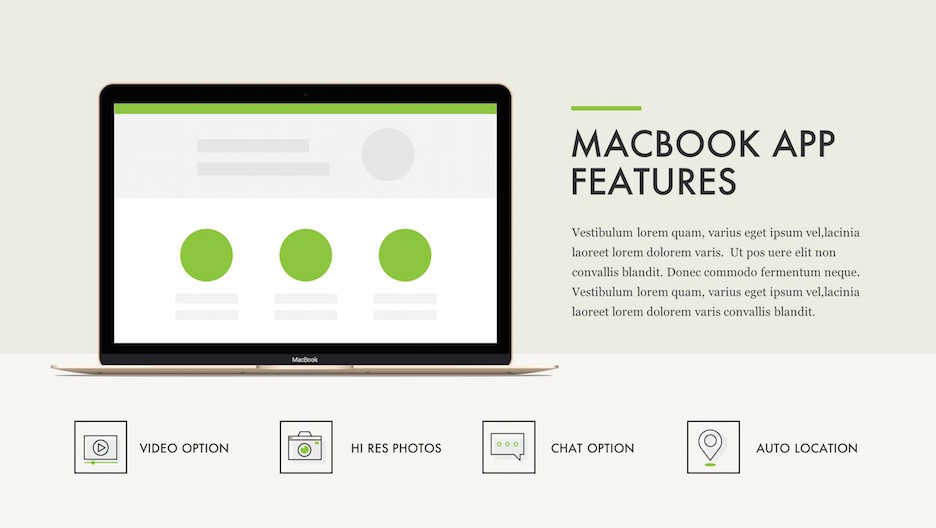 MacBook App Features - Laptop Mockup with Title, Description and 4 Feature Line Icons | Portfolio PowerPoint Template