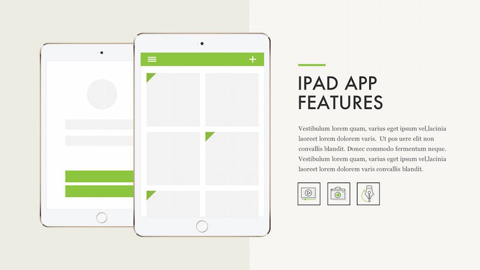 iPad App Features - 2 iPad Mockups with Title, Text and 3 Icons | Portfolio PowerPoint Template