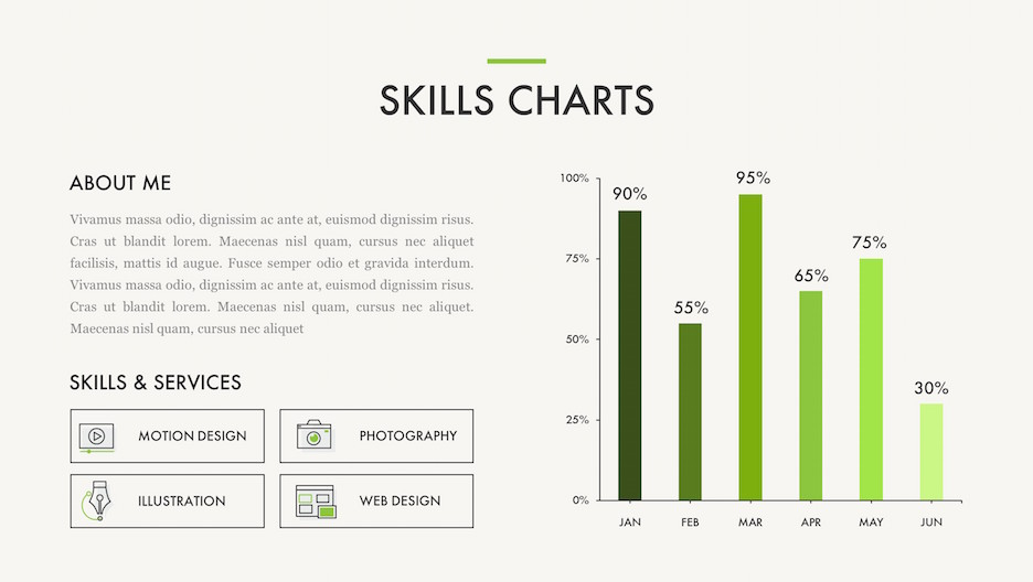Skills Charts Slide - About Me Text, Skills & Services Line Icons and Monthly Bar Chart | Portfolio PowerPoint Template