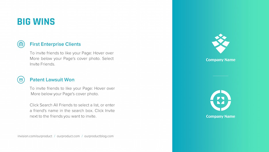 big wins logotypes slide | startup investor update ppt template