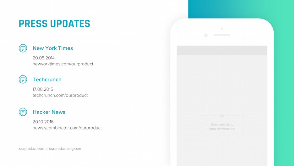 press updates iphone mockup slide | startup investor update ppt template