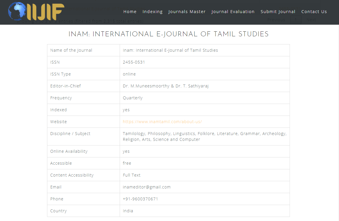 Inam - Approved UGC Journal List