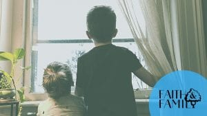 kids looking out the window