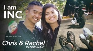 Photo collage of smiling couple and a parked motorcycle with peoples shoes next to it with text overlay of I am INC, Chris and Rachel Pangilinan