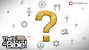 gold question mark surrounded by religious symbols