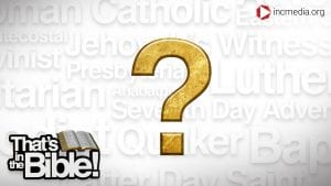Names of different religions with a gold question mark