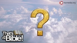 fluffy clouds with a gold question mark over the image